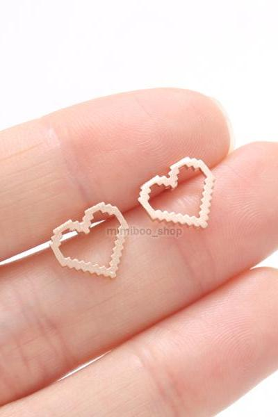 Pixels Open Heart Stud Earrings